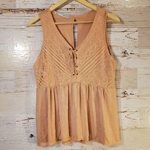 Maurice's lace up lace tank top